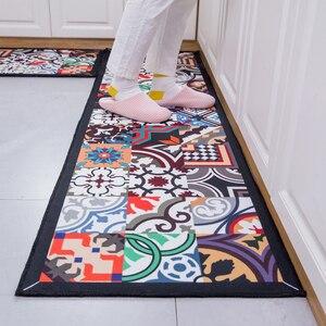 Image 3 - Etnische Gedrukt Keuken Mat Set Vuil Proof Lange Tapijt Hal Deurmat Nachtkastje Floor Mat Antislip Water Absorptie badkamer Tapijten