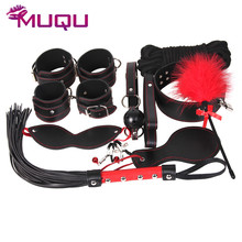 10 pieces bondage set bdsm toys collar nipple clamps flogger whip mouth gag blindfold bdsm bondage fetish sex toys for couples цены