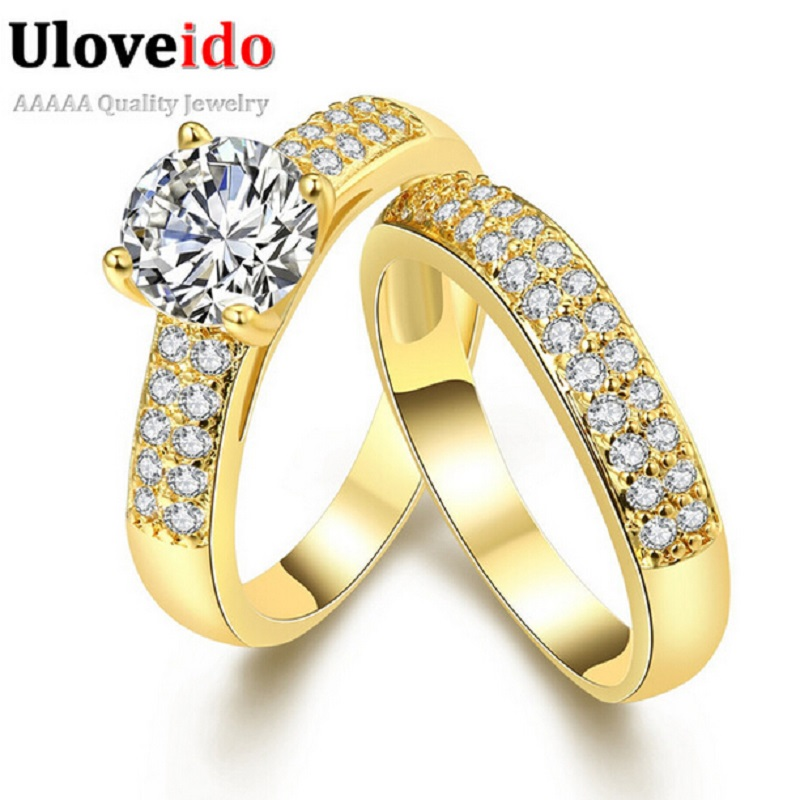 Uloveido Promise Engagement Double Rings For Couples Men Women Gold Color Pairs Wedding Ring Set for Men and Women 5% Off KR005