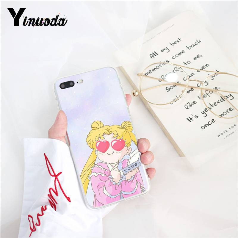 Yinuoda Pink Japanese Anime Kawaii Sailor Moon Coque Shell Phone Case for iPhone X XS MAX  6 6s 7 7plus 8 8Plus 5 5S SE XR 10