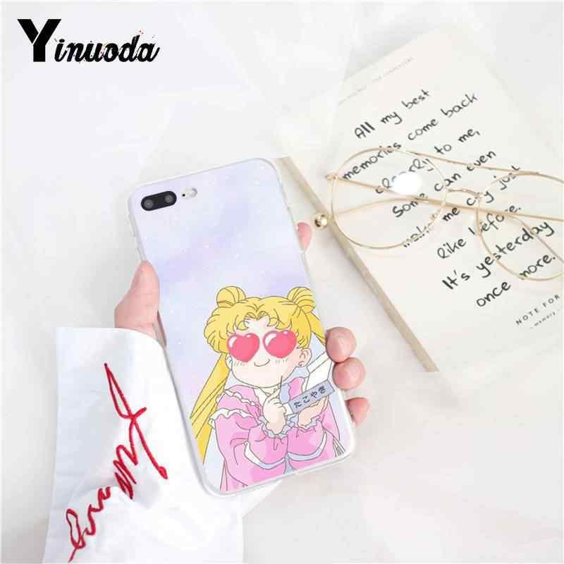 Yinuoda Pink Japanese Anime Kawaii Sailor Moon Ponsel Case untuk Iphonex Xsmax 6 6 S 7 7 Plus 8 8 plus 5 5S SE XR 10 11 11pro 11 Promax