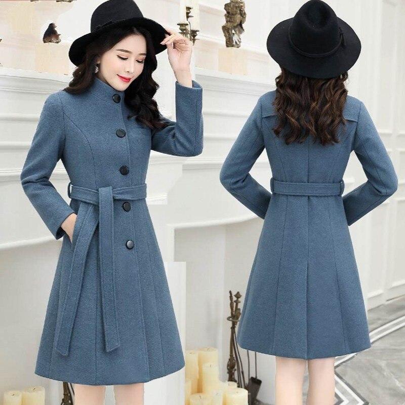 Tempérament Veste Femelle Coréenne Taille Manteau Beige Debout Uhytgf Mince Mode Laine Dame D'hiver gray Grande En Col Outerwear1177 blue De Femmes zxqFOFwv