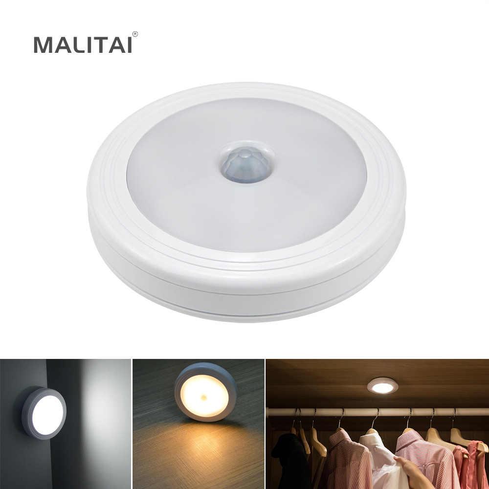 Беспроводной PIR датчик движения светодиодное освещение для шкафа на батарейках Ночной светильник Настенный светильник для кухонного шкафа шкаф аварийная лампа