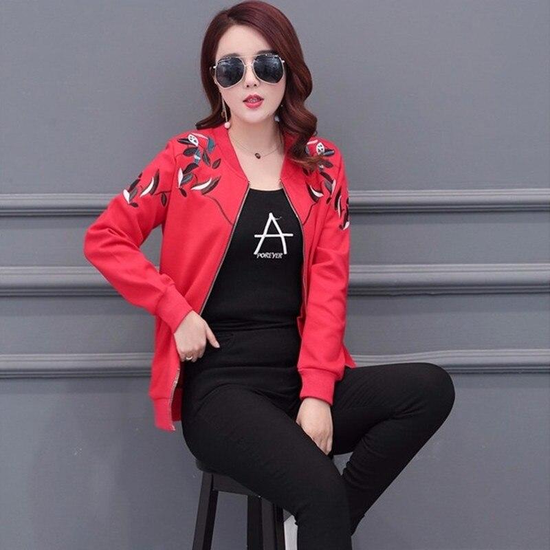 Automne Usine Femmes De Casual Vestes 935 Debout Rouge Broderie Survêtement Manteaux black Plus Lâche Yagenz Printemps Col Red Lady Taille Mode SOP44