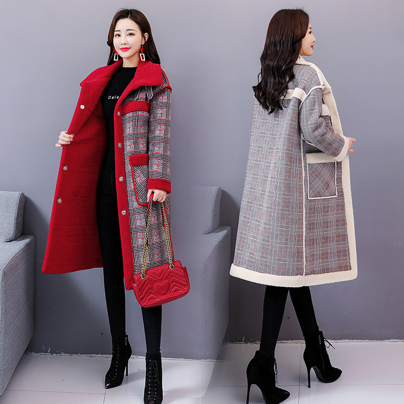 Plaid Thickened Women's Windbreaker Long Wind Coat Stylish Cotton-padded   Trench   Coat For Women Raincoat Casaco Feminino
