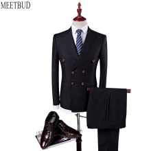MEETBUD Brand men suit for wedding business casual slim fit party man blue black suits dress (jacket+pants+vest) Double-breasted