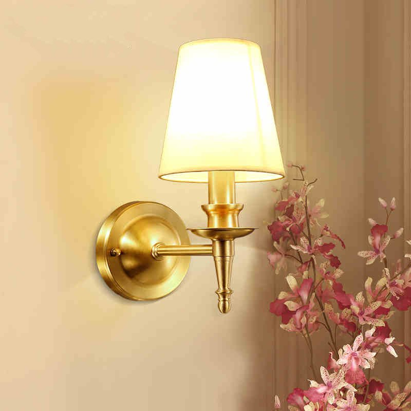 American Simple Modern Rural Fabric Art Copper Wall Lamp Living Room Corridor Bedroom Aisle Balcony Free Shiping