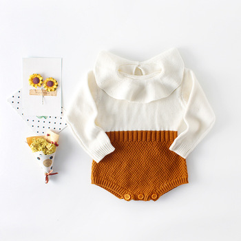Baby Girls Knitted Sweater Rompers Long Sleeve Patchwork Candy Color Autumn Baby Clothing