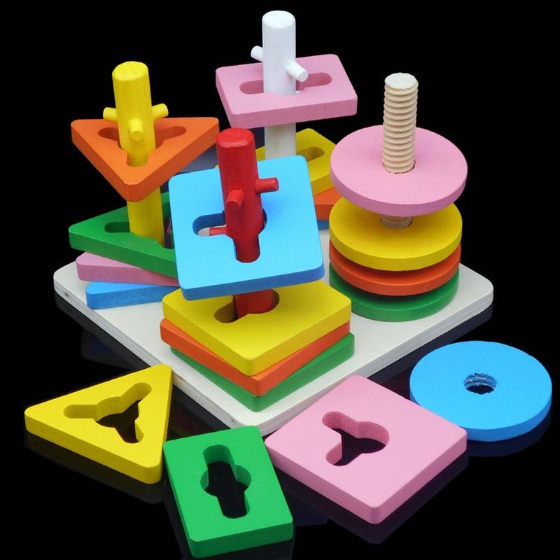 Безплатна доставка децата четири колона костюм дървени строителни блокове бебе образователни играчки Сглобени строителни блокове Montessori дървени играчки