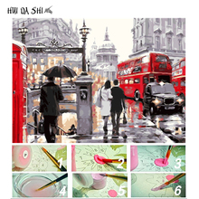 DIY Oil Painting By Numbers London Big Ben Streets Red Bus Pictures Drawing Coloring On Canvas Home Decor Scenery Wall Art Frame