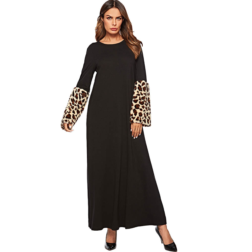 Casual Faux Fur Abaya Leapord Plush Maxi Dress   Warm Kimono Long Robe Gowns Muslim Jubah Ramadan Middle East Islamic Clothing