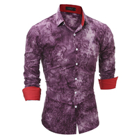 Brand 2017 Fashion Male Shirt Long Sleeves Tops High Quality 3D Tie Dye Mens Dress Shirts