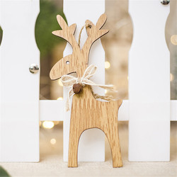 Christmas Deer Wooden Pendants Ornaments for Xmas Tree DIY Ornament Christmas Party Decorations Kids Gift hanging drop ornaments 3