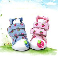 Pet Accessories Strawberry Cute Small Dogs Shoes Soft Warm Velvet Chihuahua Dog Boots Teddy Puppy Sneaker pink/blue