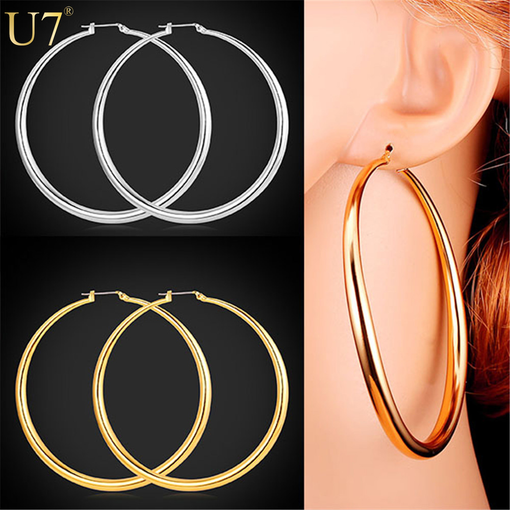 U7 Round Earrings Basketball Wives Trendy Gold Plated Fashion Jewelry  Wholesale Large 2 Size Hoop Earrings