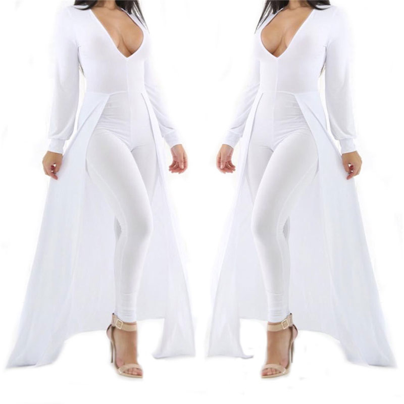 bb9ee35571ee Cape Rompers Womens Jumpsuit Sexy Deep V neck Jumpsuit Long Sleeve White  Playsuit Bandage Full Length Bodysuit Overalls Autumn-in Jumpsuits from  Women s ...