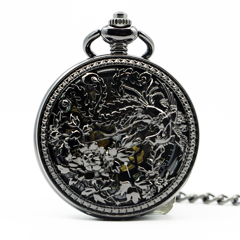 Top Brand Phoenix Pattern Mechanical Pocket Watches Automatic Carving Hollow Pendant Fob Chain Watches For Men Women PJX1296