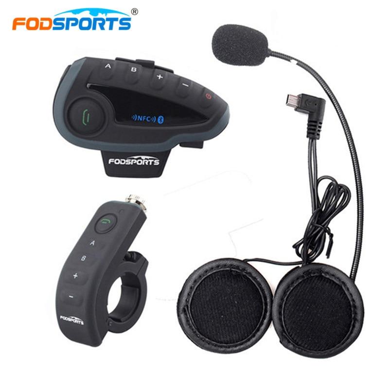 Fodsports V8 Pro BT Interphone with Controller motocross Motorcycle Helmet Bluetooth Intercom 5 Rider 1200M Intercomunicador
