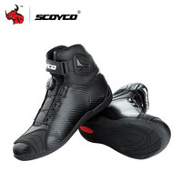 SCOYCO Motorcycle Boots Leather Motocross Boots Motorcycle Touring Riding Boots Shoes With PP Shell Protection ATOP Buckles
