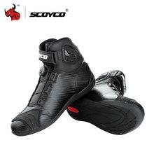 Scoyco мотоботы кожа Мотокросс Сапоги и ботинки Мотоцикл Touring Сапоги в жокейском стиле с pp Корпуса защиты на вершине пряжки