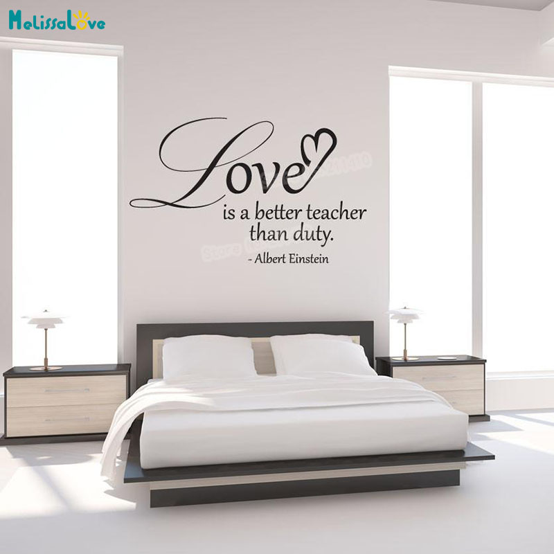 Vinyl Wall Decal Sticker Einstein Love Quote Simple Art Home Decoration For Living Room Bedroom Removable Art Murals Gift YT206 ...
