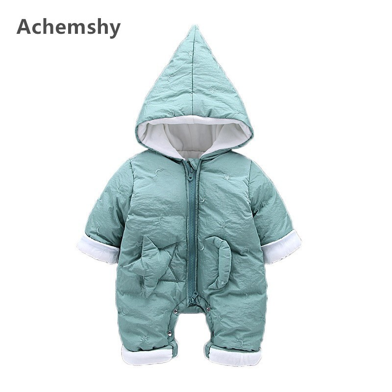 Winter Baby Cotton-padded Clothes Boys Girls Plus Velvet Thickening Moon Star Hooded Romper Infant Outwear Jumpsuit Warm цена 2017