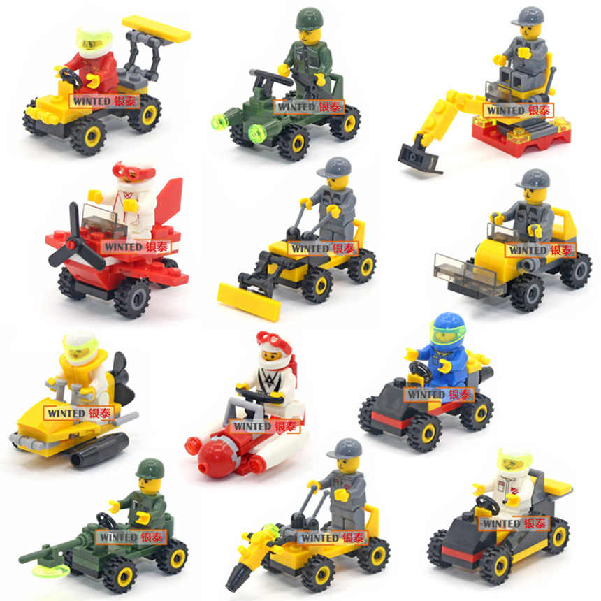 City Series Police-Car Fighter Mini Educational Building Blocks Toys DIY Bricks Assembled Compatible Brand Duplo Soliders Police