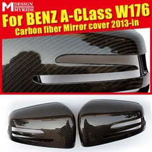 For Mercedes W176 Wing Door Mirror Cover Carbon Fiber black 2pc A class A180 A200 A250 A45AMG look 1:1 Replacement OEM-Fit 13-16