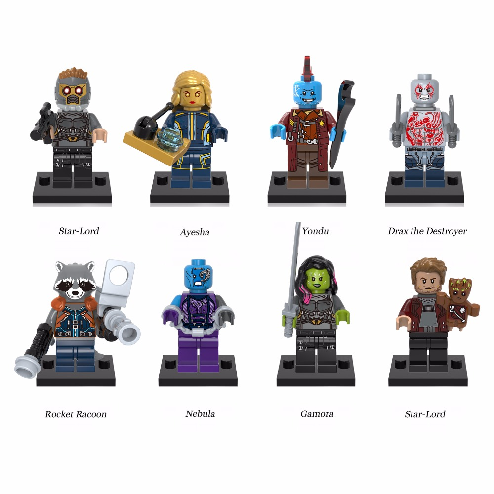 X-Series 8PCS Building Bricks Dolls Guardians of the Galaxy Nebula Gamora Yondu Drax The Deatroyer Blocks Men Toys