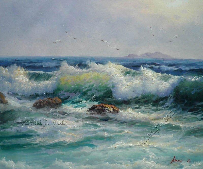 Ocean Waves Foam Breaking Free In Landscape Oil Painting Art Oil Painting Seascape Ocean Wave Sunrise Bird On Canvas 20x24 001 Wave Foam Painting Ocean Waveswaves Ocean Aliexpress