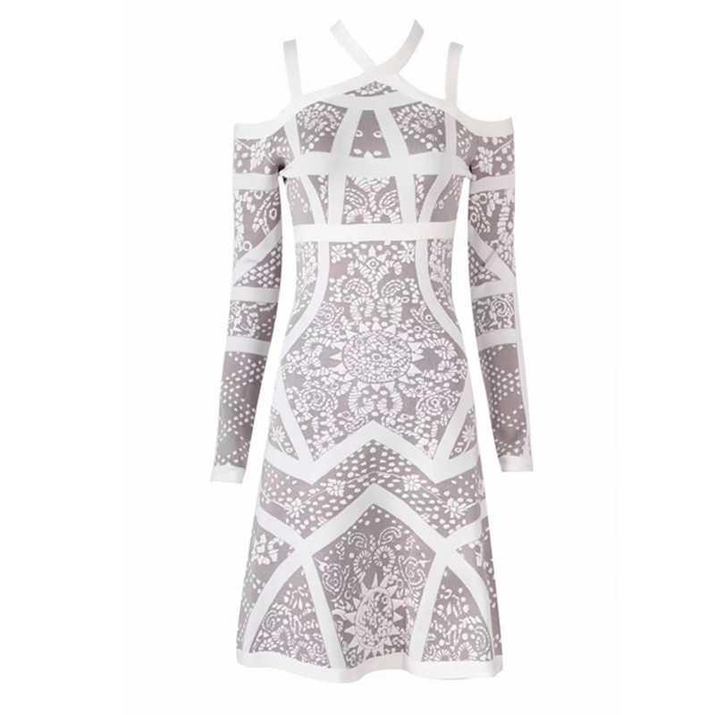 2018 Новое Элегантное осеннее жаккардовое Бандажное платье белое с открытыми плечами Сексуальное Лоскутное облегающее модное вечернее платье знаменитостей