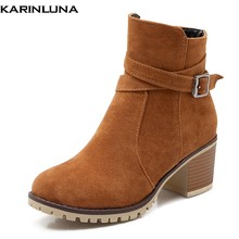 aadb2abed15a0 KarinLuna 2018 Mode Grande Taille 34-43 Dropship Zip Up Cheville Bottes  Femme Chaussures Chunky