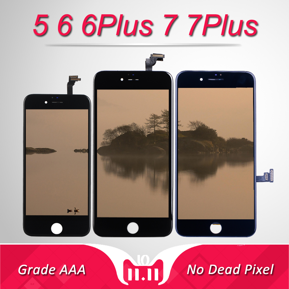 AAA Display Module For IPhone 5 Screen Replacment With 3D Touch Digitizer Assembly For IPhone 6 Plus 7 Plus LCD No Dead Pixel