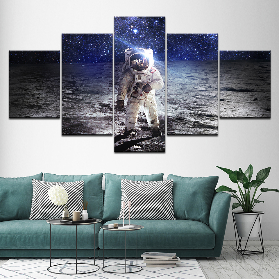 Canvas Painting Astronaut On The Moon Space 5 Pieces Wall Art