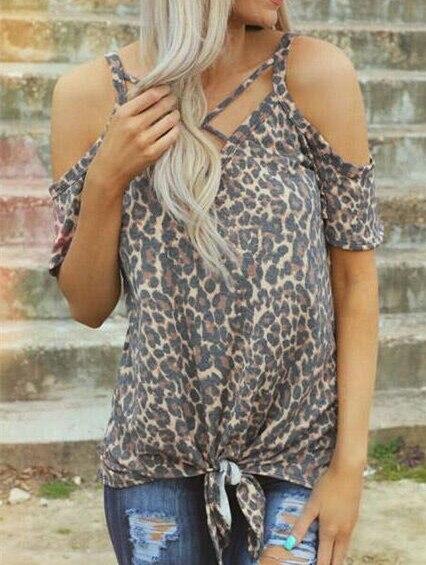 Thời trang Phụ Nữ T-Shirt Nữ Leopard In Cold Shoulder Tees Phụ Nữ Đứng Đầu Cho Mùa Hè 2019 V-Cổ Tops Tee