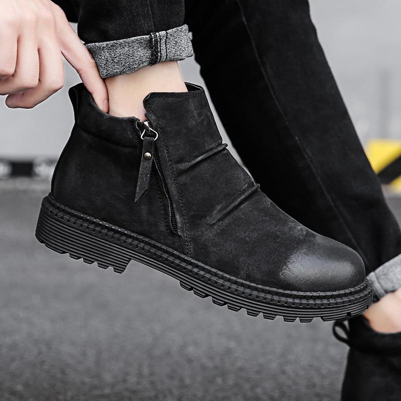 b7e965a10ab Invierno cálido cuero genuino zapatos Hombres estilo británico zapatos  casuales hombres motocicleta botas hombre más tamaño dfv56 en Botas de  nieve de ...