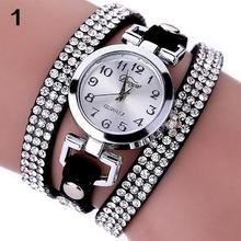 Women Rhinestone Slim Multilayer Faux Leather Bracelet Wrist Watch Jewe