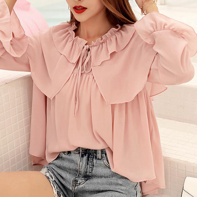153dec4a159bcd Detail Feedback Questions about Summer White Chiffon Blouse Sweet ...