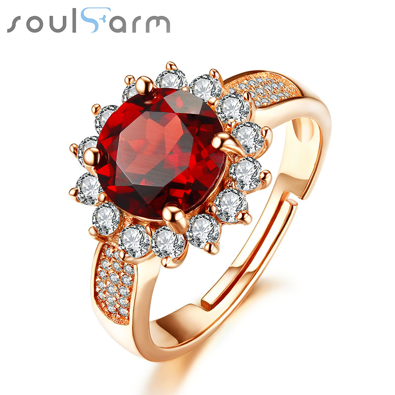 2.18ct Red Garnet 925 Sterling Silver Rings for Women 18K Rose Gold Plated Engagement Wedding Finger Flower Rings for Party yoursfs 18k white rose gold plated austria crystal rose engagement ring flower rings women jewelry xmas present