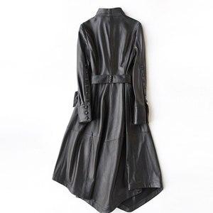 Image 3 - Ayunsu سترة جلد طبيعي 2020 معاطف جلد الغنم الحقيقي للنساء معطف طويل خندق الإناث ربيع الخريف جاكيتات 22291 WYQ1188