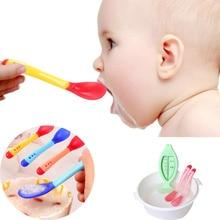 1 шт. силиконовые ложки для новорожденных Детская безопасность температура зондирования детская посуда ложки для кормления детей Прямая