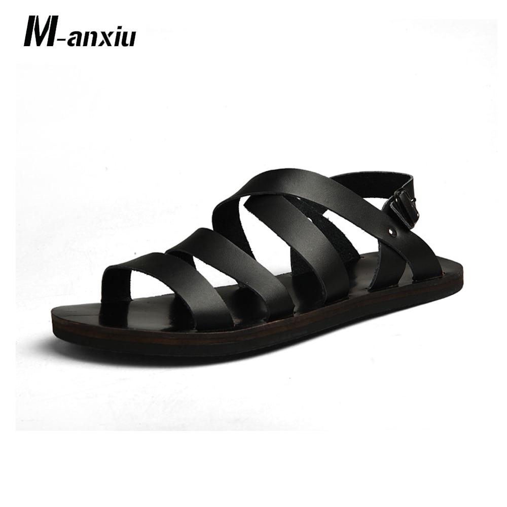 M-Anxiu Sandal Men Rubber Gladiator Summer Shoes Casual Flat Sole Buckle-Strap Antiskid