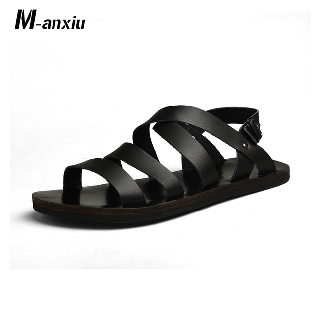 61eca62582f M-anxiu 2018 Summer Gladiator Leather Buckle Strap Sandal Men Casual Flat  Rubber Sole Breath Antiskid Shoes