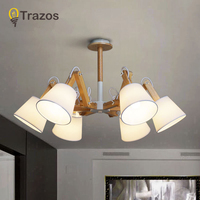 TRAZOS Modern Cottage Wooden Chandelier Lighting Dining Room Hotel lustres de cristal large Chandelier light lamp with Lampshade