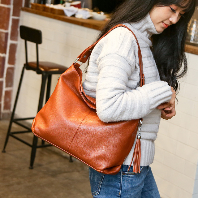 2018 New Fashion Soft Real Genuine Leather Tassel Women Handbag Elegant Ladies Hobo Shoulder Bag Messenger Purse Satchel White  1