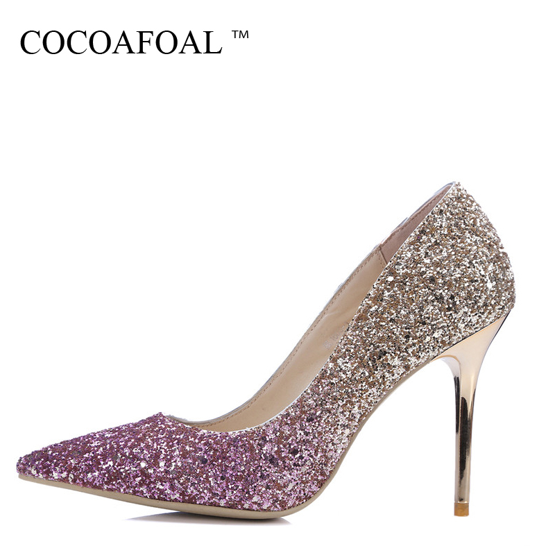 COCOAFOAL Woman Purple High Heels Shoes Silvery Wine Red Fashion Sexy Pumps Bling Stiletto Pointed Toe Party Wedding Pumps 2018 sparkling glitter pointed toe pumps fashion shoes with matching clutch bag bling bling kit silver red party queen set prom kit