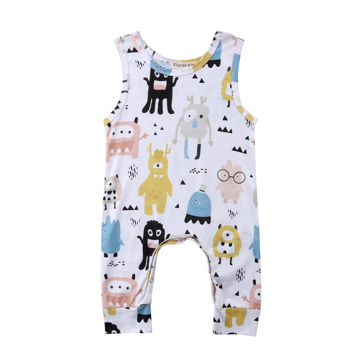 Newborn Baby Boys Girls Cartoon   Romper   Cute Monster Pattern Jumpsuit Playsuit Baby Summer Clothes