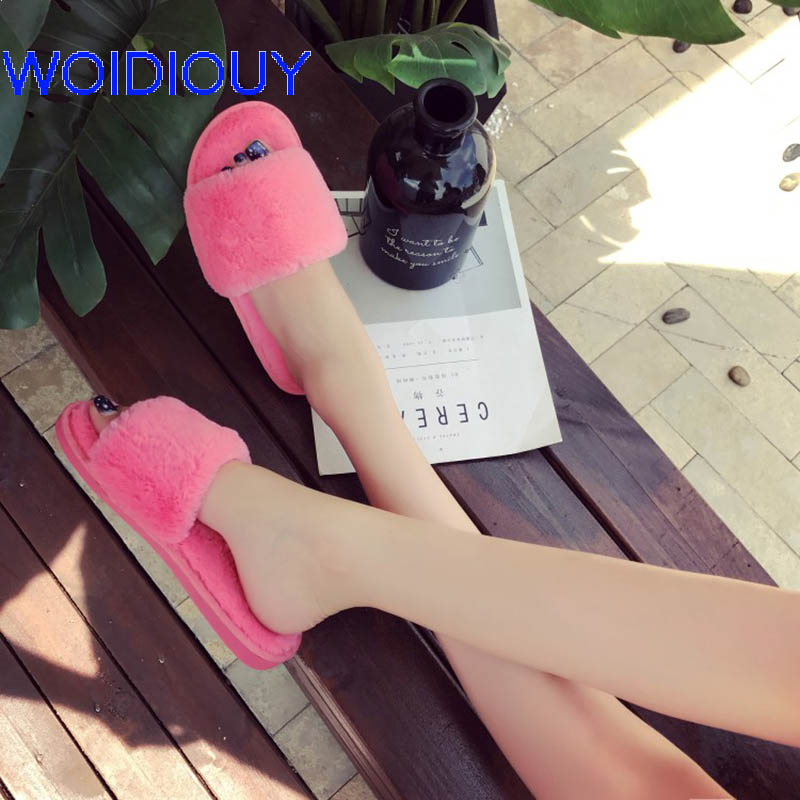 Pink Plush Fur Women Slippers Solid Fashion Spring Summer Autumn Plush Slippers Women Faux Fur Slides Flip Flops Flat Shoes ms noki fashion solid string bead women slides flat with summer flip flops ladies slippers casual outside women platform slides