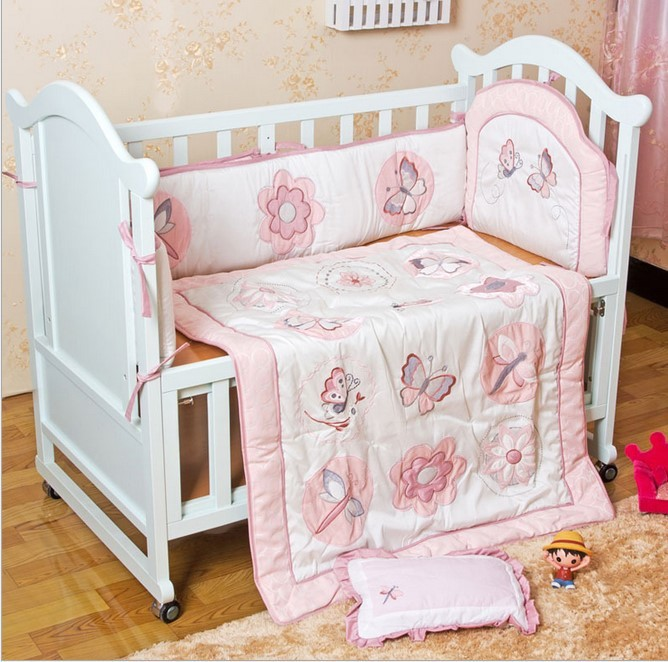 Promotion! 6pcs Embroidery cartoon Crib Baby Bedding Set 100% Cotton ,include (4bumpers+duvet+pillow)