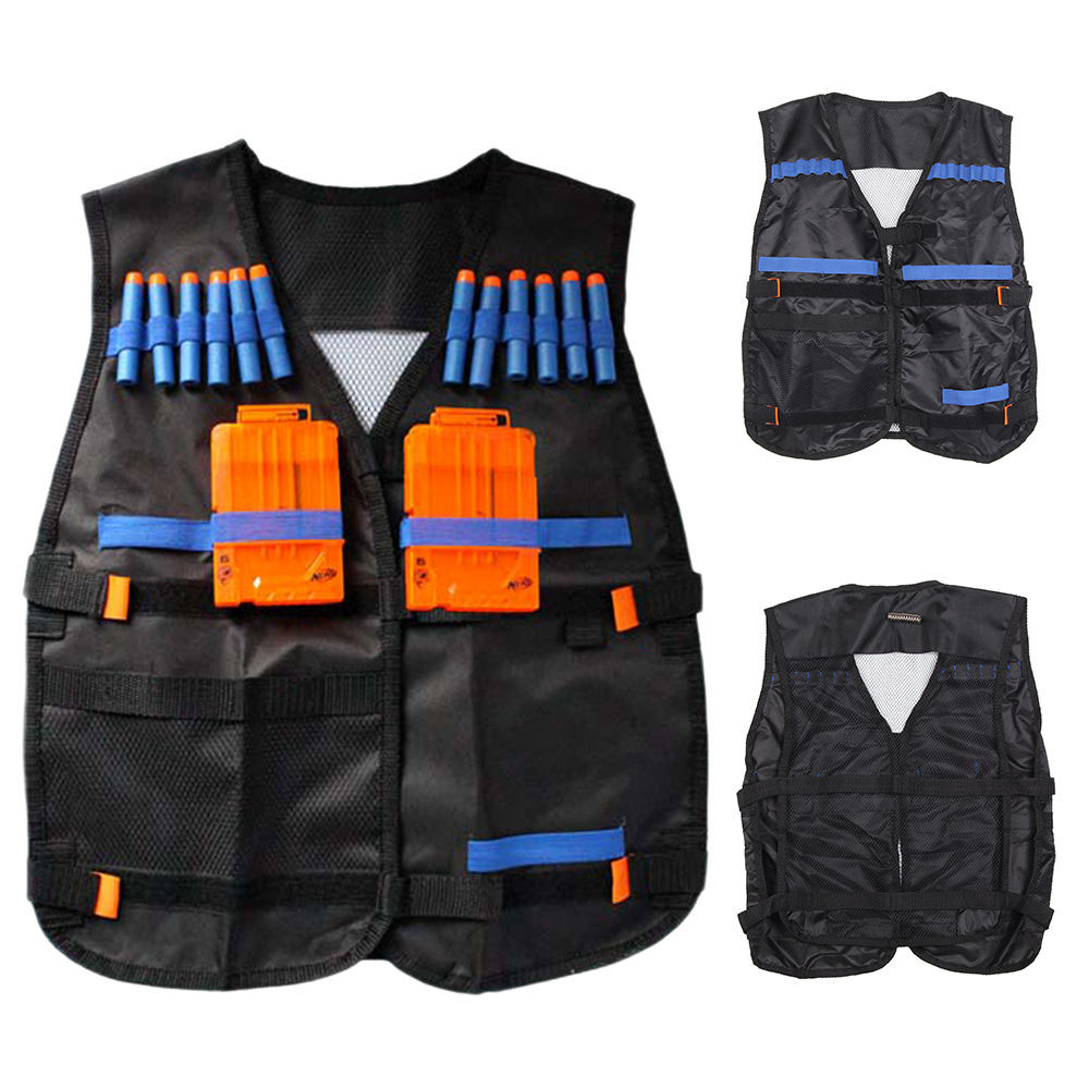 AOLIKES New Tactical Vest Kit Safety Vests Adjustable With Storage Closing Pockets Fit For Nerf N-Strike Elite Team Waistcoats
